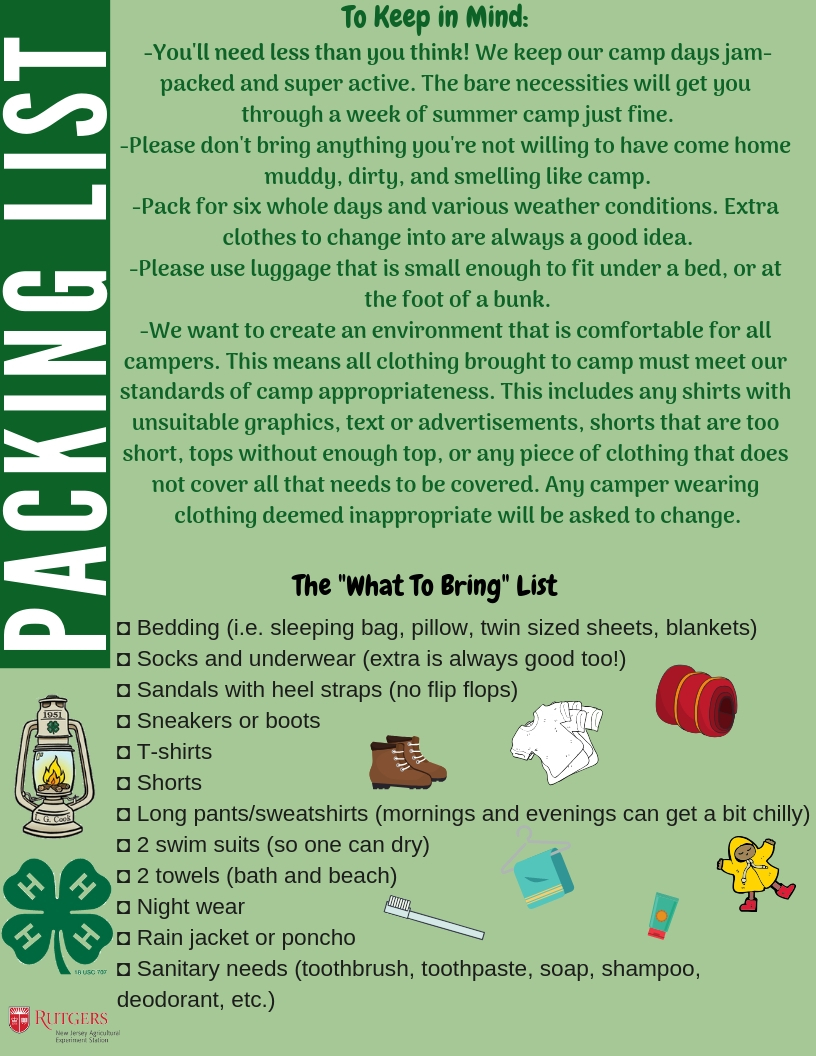 """48fb751b5389 ... should my camper bring to Camp?"""" Our Packing List will give you some  tips to make sure your camper (and their luggage) are all set for their  time here."""